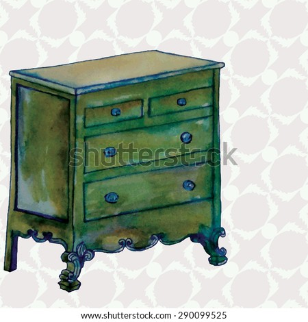 Hand Drawn Commode Vintage Chest Drawers Stock Vector Royalty Free
