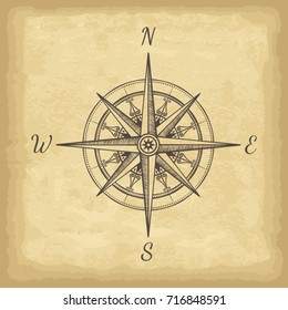 Hand drawn compass. Old paper texture background. Template for your design works. Engraved style vector illustration.