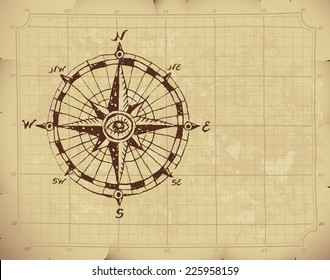 Hand drawn compass rose on old paper. Eps8. CMYK. Organized by layers. Global colors. Gradients used.