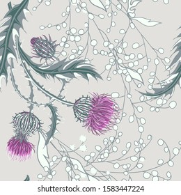 Hand drawn composition of a thistle flower. Seamless pattern with Milk Thistle on background of pastel colors. Vector botanical illustration.