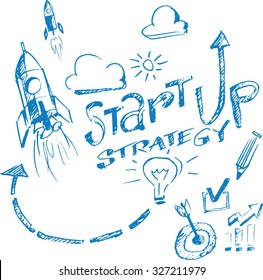Hand drawn concept whiteboard drawing - startup strategy