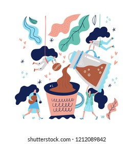 Hand drawn conceptual illustration of woman pouring coffe into a giant mug. Teamwork and coffee shop poster.