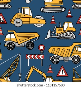 Hand drawn construction cars seamless vector pattern on dark blue background.