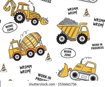 Hand drawn construction machines seamless pattern.