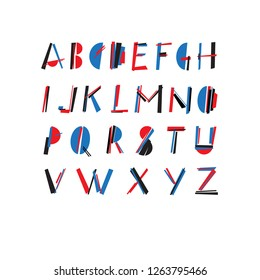 Hand drawn constructive font. Modern, design letters, display font. Alphabet letters, abc poster. Styling by Malevich