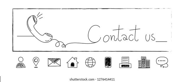 Hand drawn contact icons. address,fax,phone,email,location,mail,website. Line doodle. Contact us. Art and sketch design. Banner symbol. Vector illustration for your graphic design.