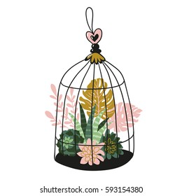 Hand drawn contained tropical house plants. Vector print design - bird's cage with tropical plants.