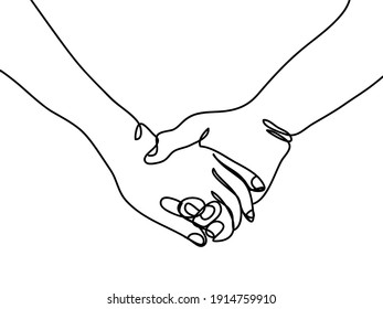 hand drawn continuous line of couple holding hands. poster art print. vector illustration