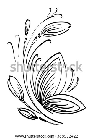 Hand Drawn Contour Butterfly Flowers Drawing Stock Vector Royalty