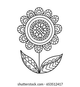Hand drawn contour flower for anti stress colouring page. Pattern for coloring book.  Vector illustration in zentangle style. Ornamental design.