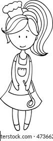 Hand drawn cook girl illustration. Cooking girl drawing for coloring book