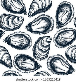 Hand drawn cooked oyster shells seamless pattern. Vector package, banner, cover, wrapping paper design elements. Realistic oysters top view seafood background. Edible marine mollusks backdrop.
