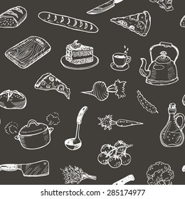 Hand drawn cooking doodle set texture. Seamless pattern with kitchen utensils and food on a black chalkboard.
