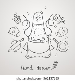 Hand drawn cooking theme  Apron Vector Design