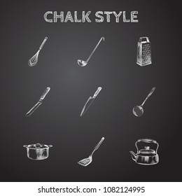 Hand drawn cookware sketches set. Collection of ladle, whisk, grater and other sketch elements.