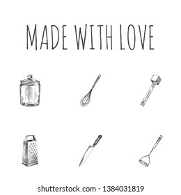 Hand drawn cookware sketches set. Collection of grater, potato masher, kitchen hammer and other sketch elements.