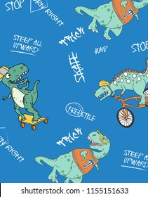 Hand drawn cool dinosaur pattern vector design