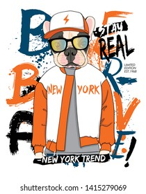 Hand drawn cool dog illustration, vector.