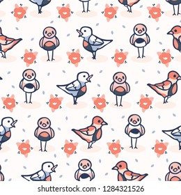 Hand drawn coral blue spring daisy with cute birds. Seamless vector pattern. Trendy kawaii song birdies . All over print illustration, animal wrap or summer birthday background.