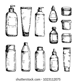 Hand drawn cosmetic container set: bottles with spray, dispenser and dropper, cream jar, tube. Sketched mock-up of cosmetic package.