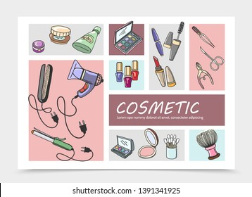 Hand Drawn Cosmetic Elements Composition