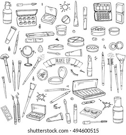 Hand drawn Cosmetic tools. Cosmetology background. Isolated beauty products. Facial cosmetics. Makeup. Lipstick. Eye lash. Mascara. Brush. Glamour vector illustration. Design make up pack. Toiletry.