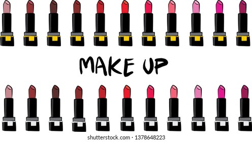 Hand drawn cosmetics set. Make up, mascara, lipstick, brush, powder, lip gloss, - Fashion illustration vector