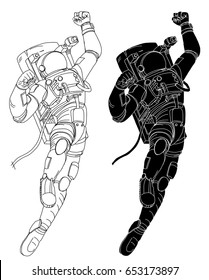 Hand drawn The cosmonaut in space suit isolate outline vector