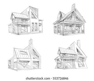 Hand drawn cottage house sketch design set. Vector illustration
