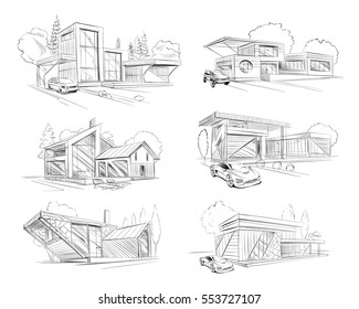 Hand drawn cottage house sketch design set. Vector illustration