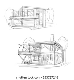 Hand drawn cottage house sketch design. Vector illustration