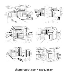 Hand drawn cottage. modern private residential houses. sketch illustrations set.