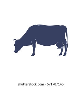 Hand Drawn Cow Silhouette isolated on White background. Vector illustration