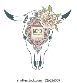 Hand drawn cow skull with ornamental frame and peonies. Bohemian design