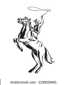 Hand drawn cowboy with lasso on rearing horse. Rodeo vector illustration. Black isolated on white background.