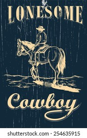 Hand drawn of cowboy riding horse on a wooden sign, vector