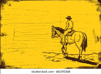 Hand drawn cowboy riding horse on a wooden board, vector