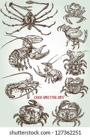 hand drawn crab vector set