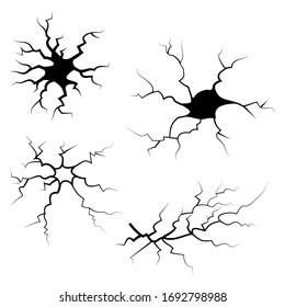 hand drawn cracked glass, wall, ground. lightning storm effect. doodle break set. vector illustration