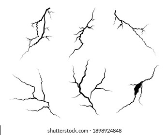 hand drawn cracked glass, wall, ground. lightning storm effect. doodle break set. vector illustration