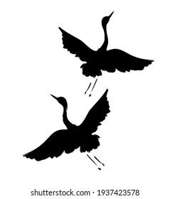 Hand drawn Crane bird silhouette, Graphic illustration bird vector art