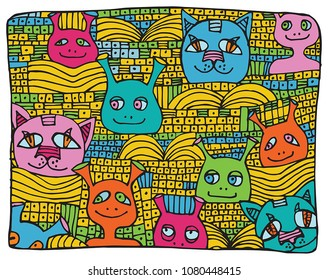 Hand drawn crazy colorful doodle Monsters.Vector illustration.
