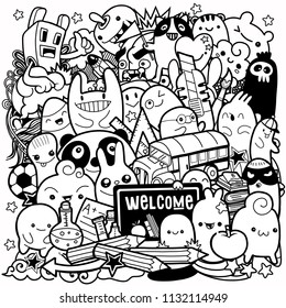 Hand drawn Crazy doodle Monster City,drawing style.Vector illustration.