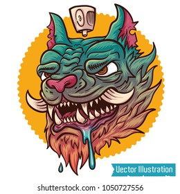 Hand drawn crazy graffiti cat with typography vector for t shirt printing and embroidery, Graphic tee and printed tee. Cool Chinese dragon demon cat. Isolated vector illustration on white background