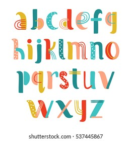 Hand Drawn Creative Alphabet in vector