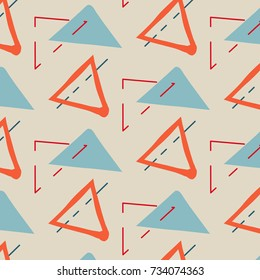Hand drawn creative childish background.Vector Illustration with triangles orange blue, contrast happy minimalistic design. Contemporary fabric