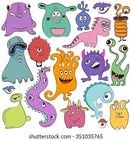 Hand drawn creative set of isolated colorful cartoon monsters.