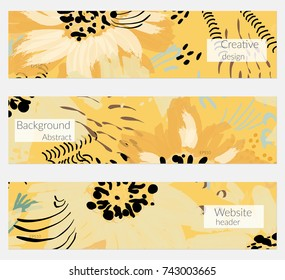 Hand drawn creative universal banner set. Abstract scribbles doodles bright colors. Website header social media advertisement sale brochure templates. Isolated vector banner templates.