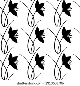 Hand drawn crocus plant with flower, doodle silhouette, black and white seamless vector pattern on white background.