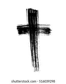 Hand drawn cross. Grunge cross. Cross made with brush stroke